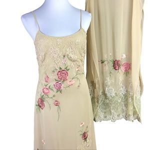 Sue Wong Dress Shawl Set Silk Beige Pink Size 6